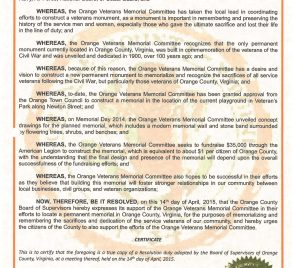 April 14, 2015 – County of Orange, Virginia, Board of Supervisors shares a resolution to support the Orange Veterans Memorial Project.