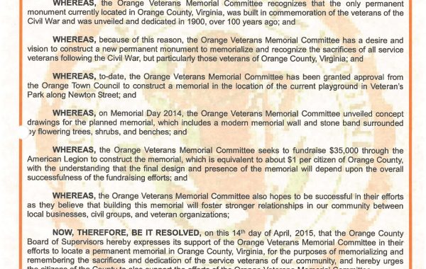 April 14, 2015- County of Orange, Virginia, Board of Supervisors shares a resolution to support the Orange Veterans Memorial Project.